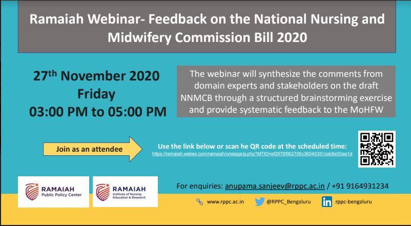 Ramaiah Webinar – FEEDBACK ON THE NATIONAL NURSING & MIDWIFERY COMMISSION BILL 2020